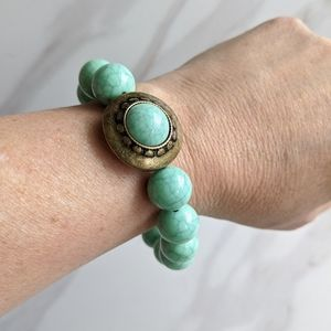 4/$25 Faux Turquoise Round Beaded Stretch Bracelet